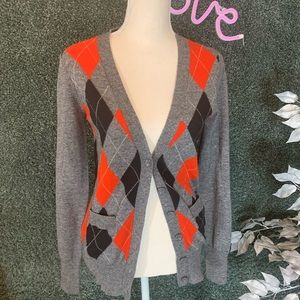 French Connection Gray, Red & Blk Plaid Cardigan